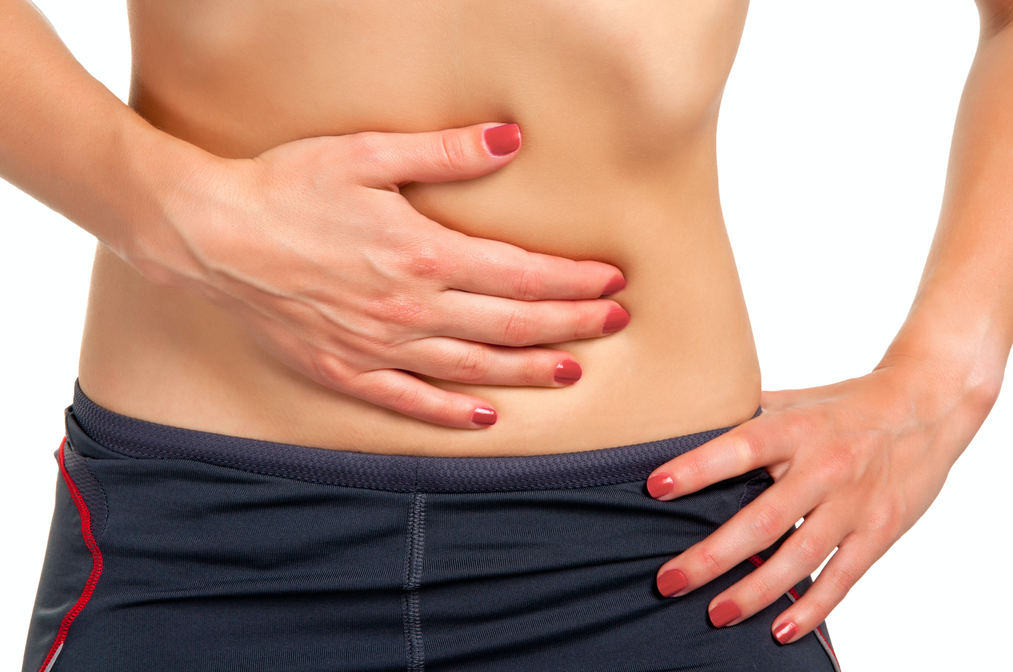 An image depicting a person suffering from abdominal bump symptoms