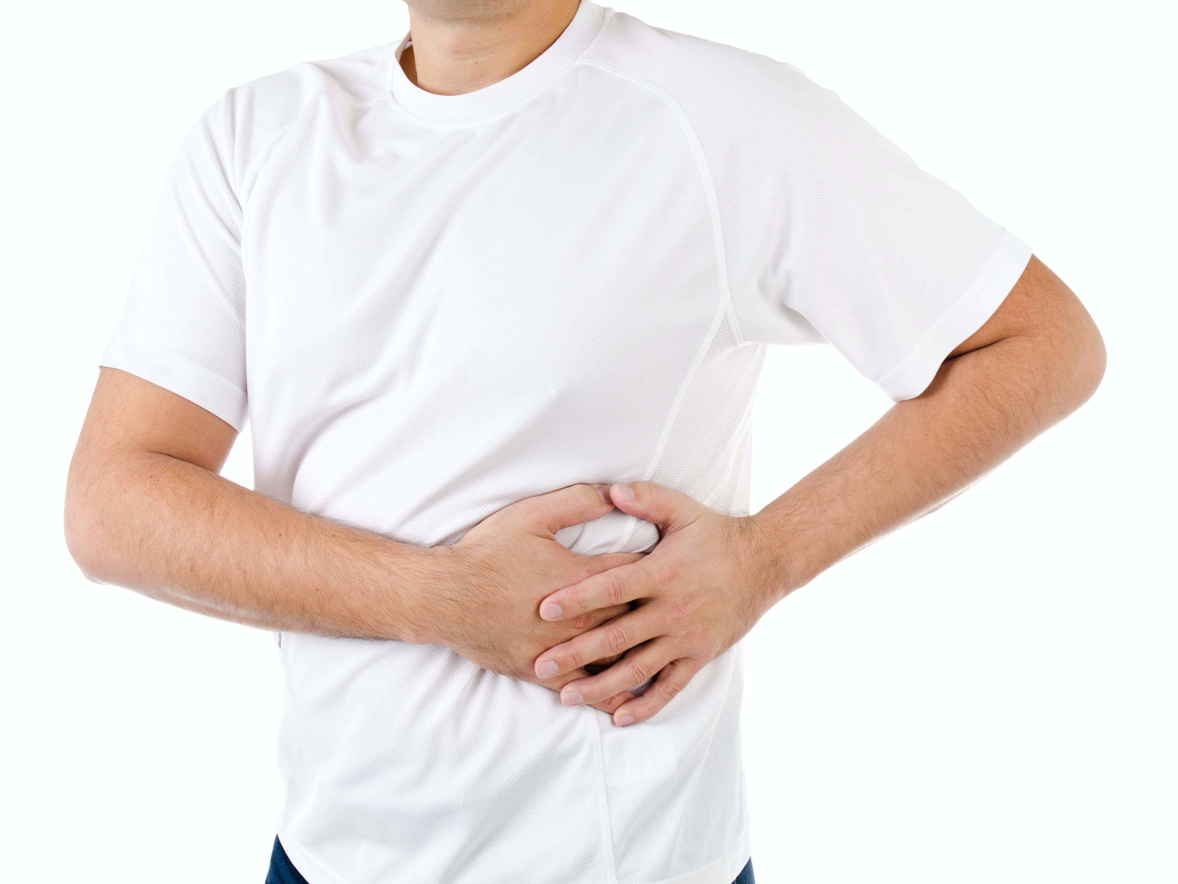 An image depicting a person suffering from lump on the upper left abdomen symptoms