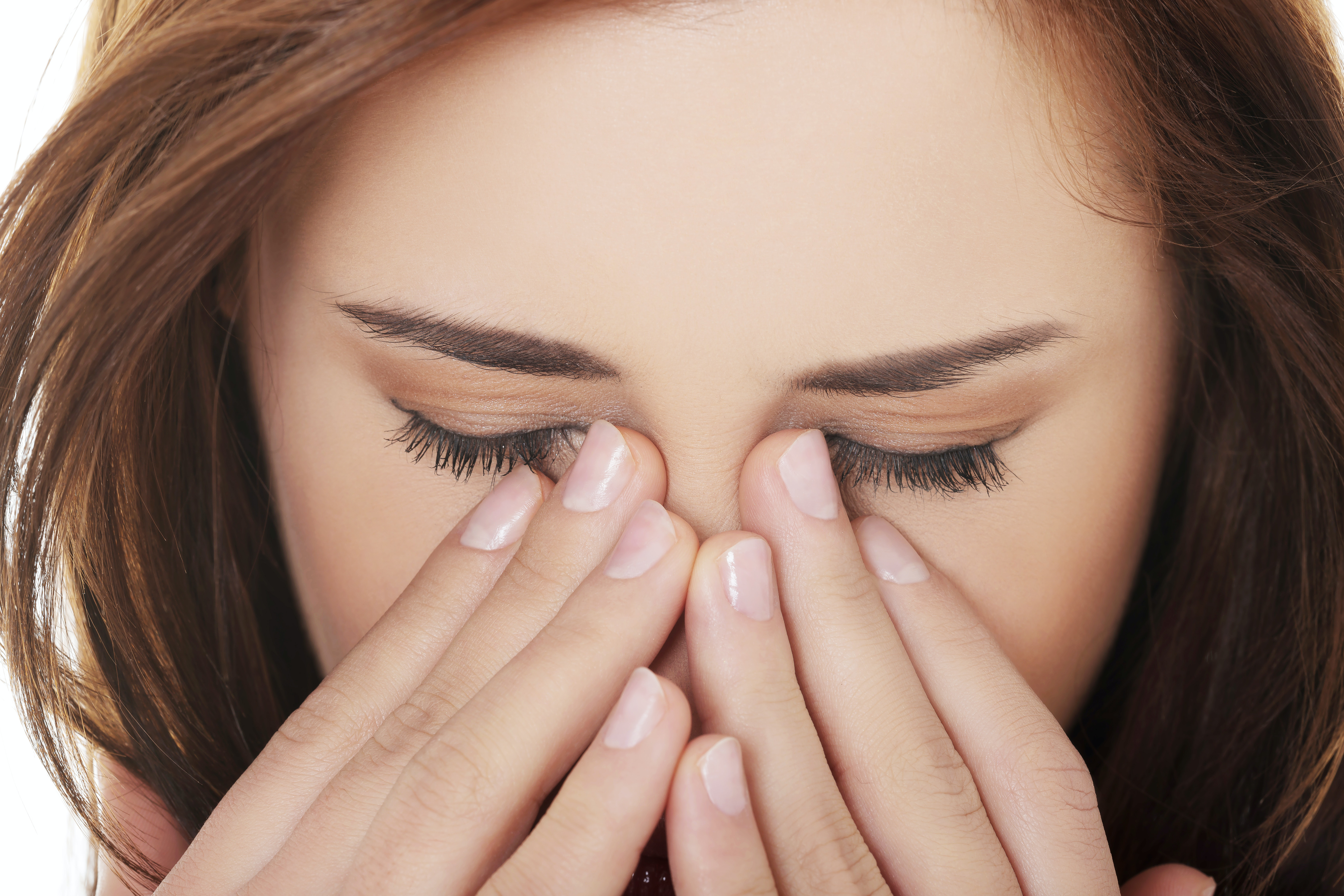 An image depicting a person suffering from morning eye crust symptoms