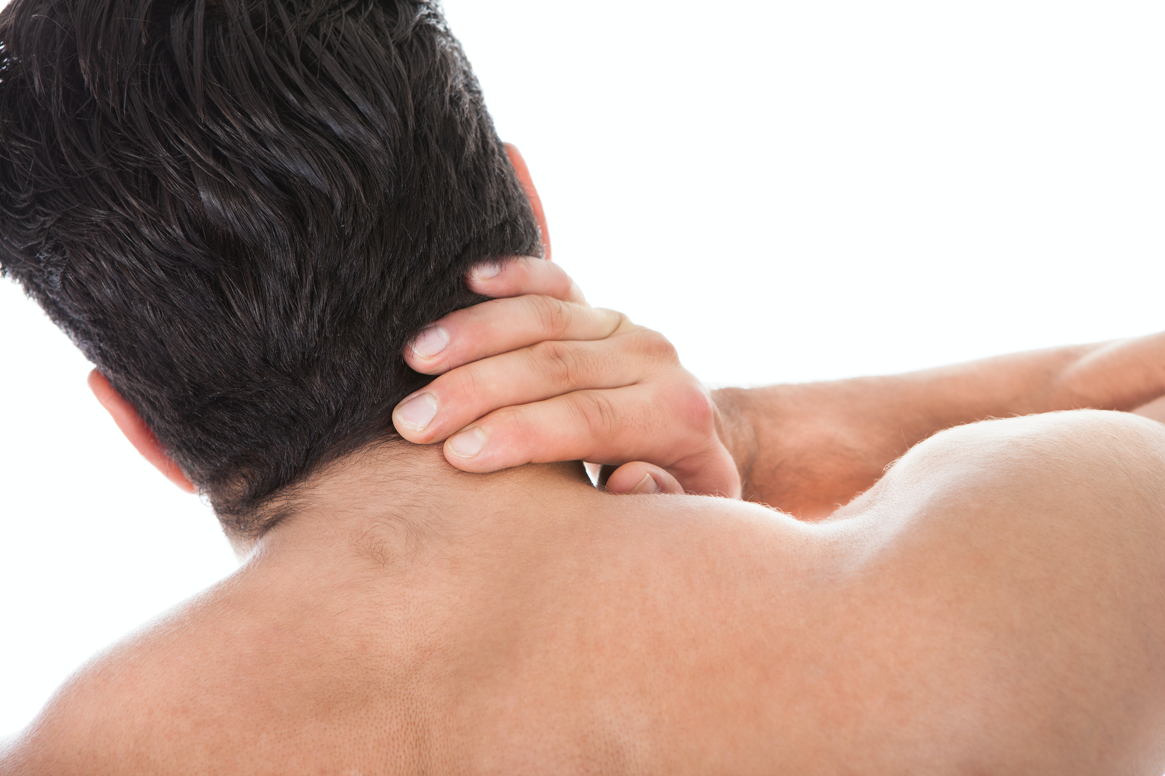 An image depicting a person suffering from neck bump symptoms