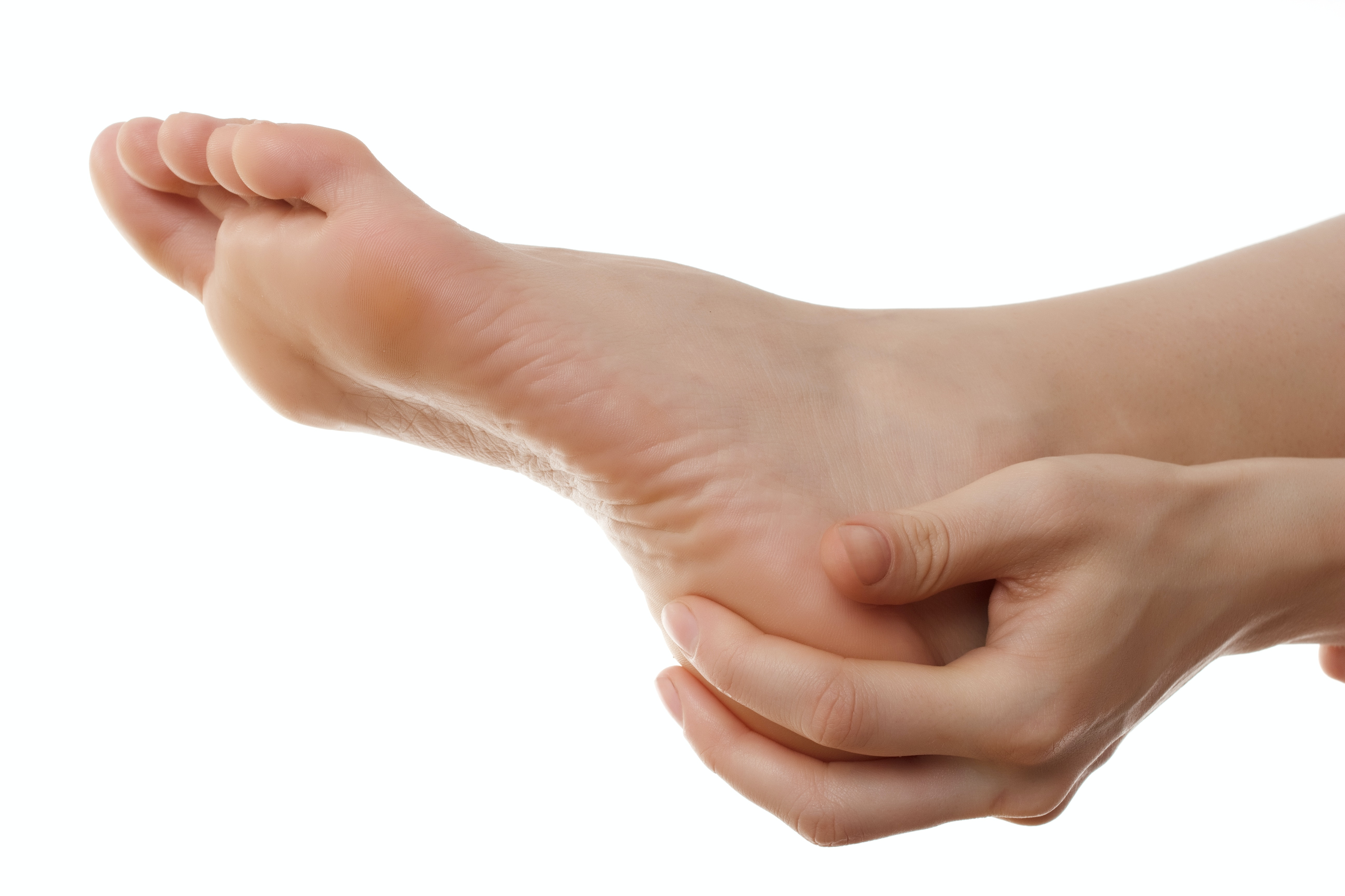 An image depicting a person suffering from numbness in the heel-side of the foot symptoms