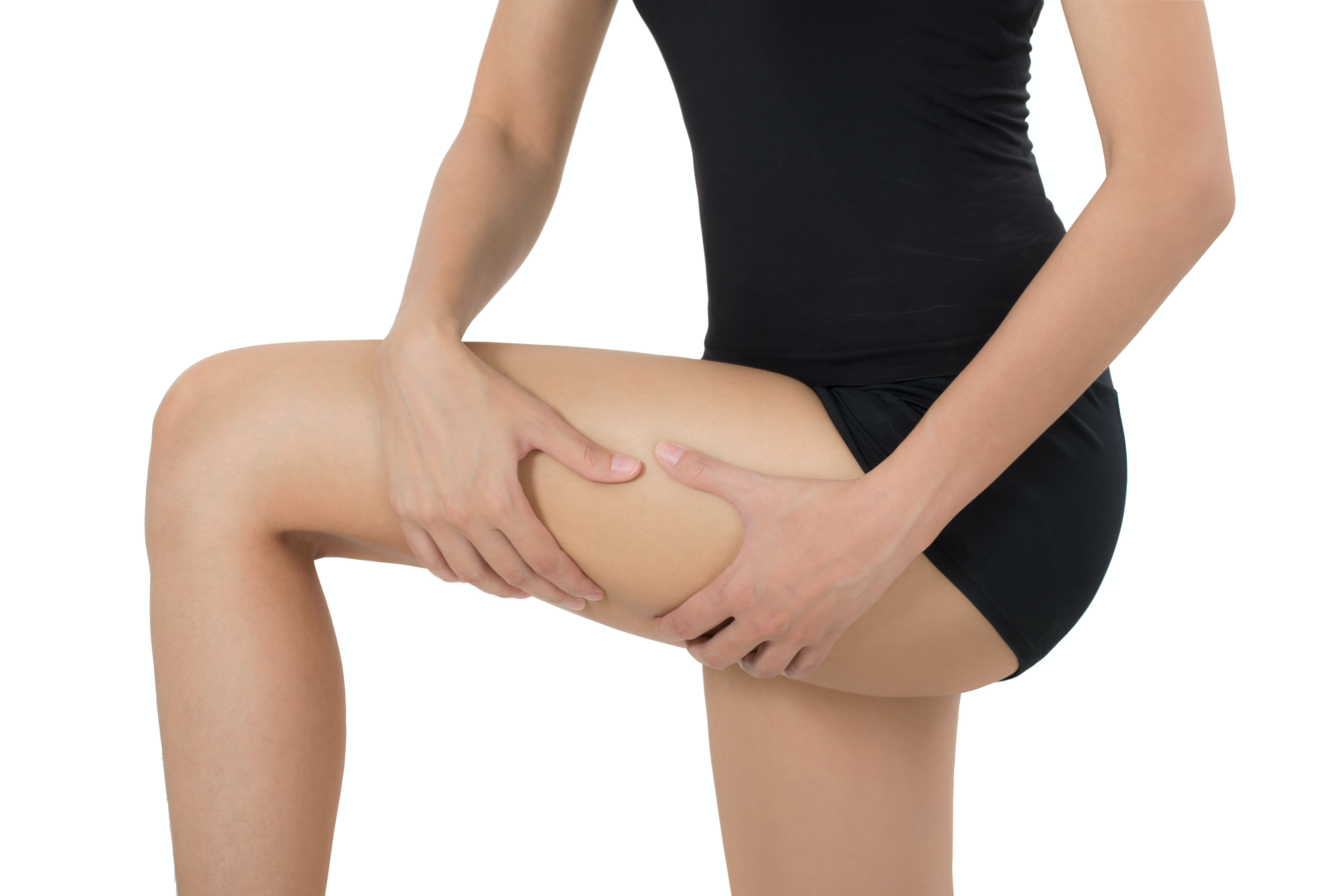 An image depicting a person suffering from pain in both thighs symptoms