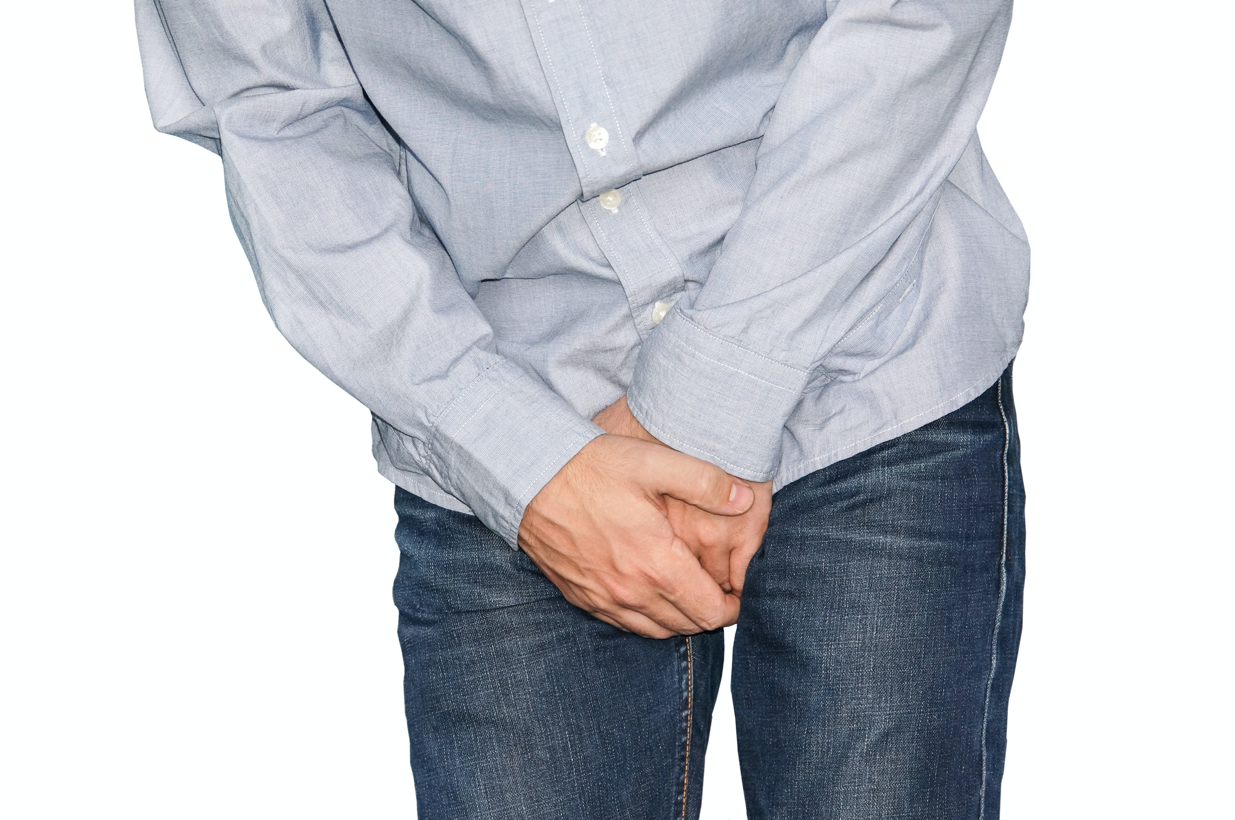 An image depicting a person suffering from painful erection symptoms