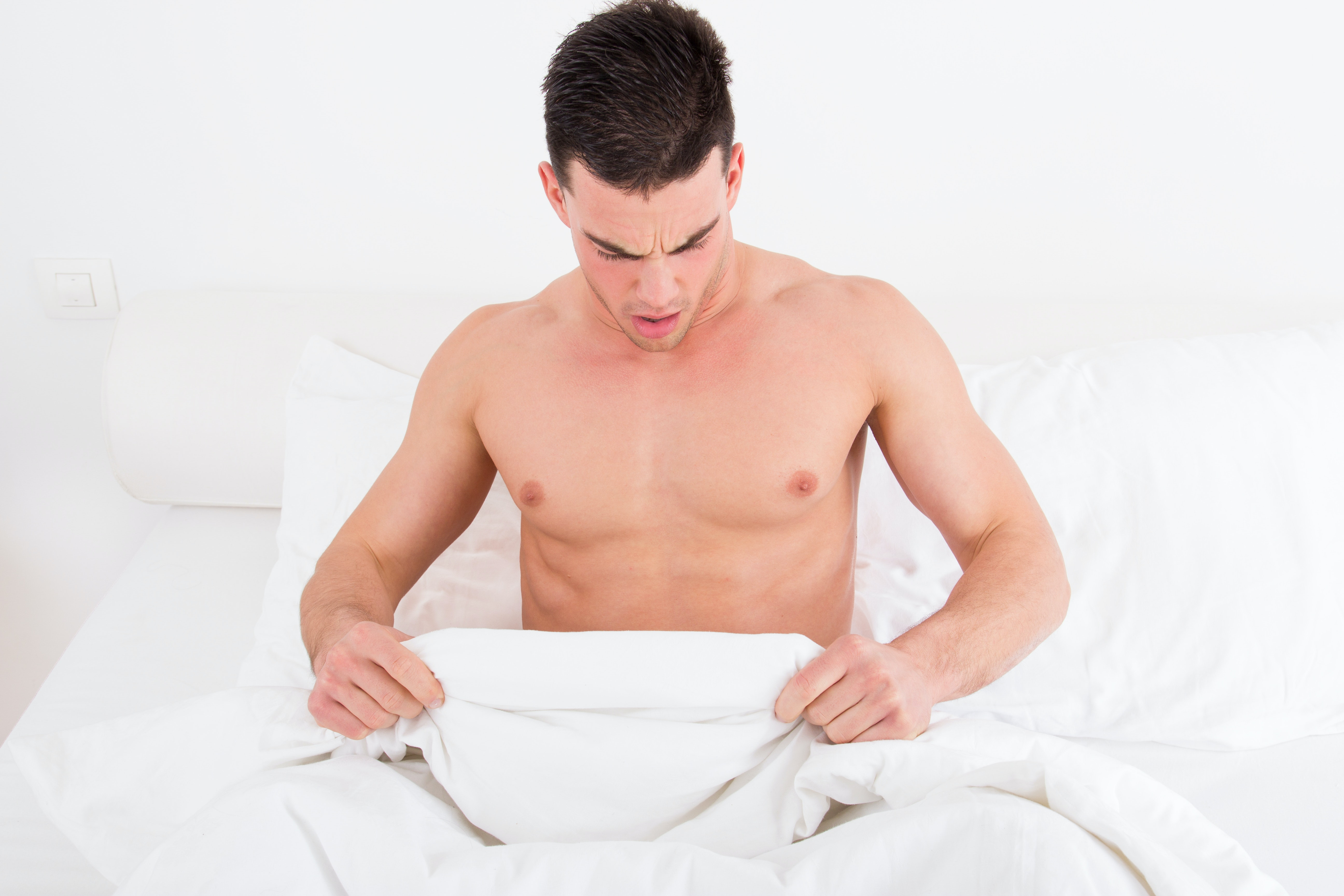 An image depicting a person suffering from penile skin changes symptoms