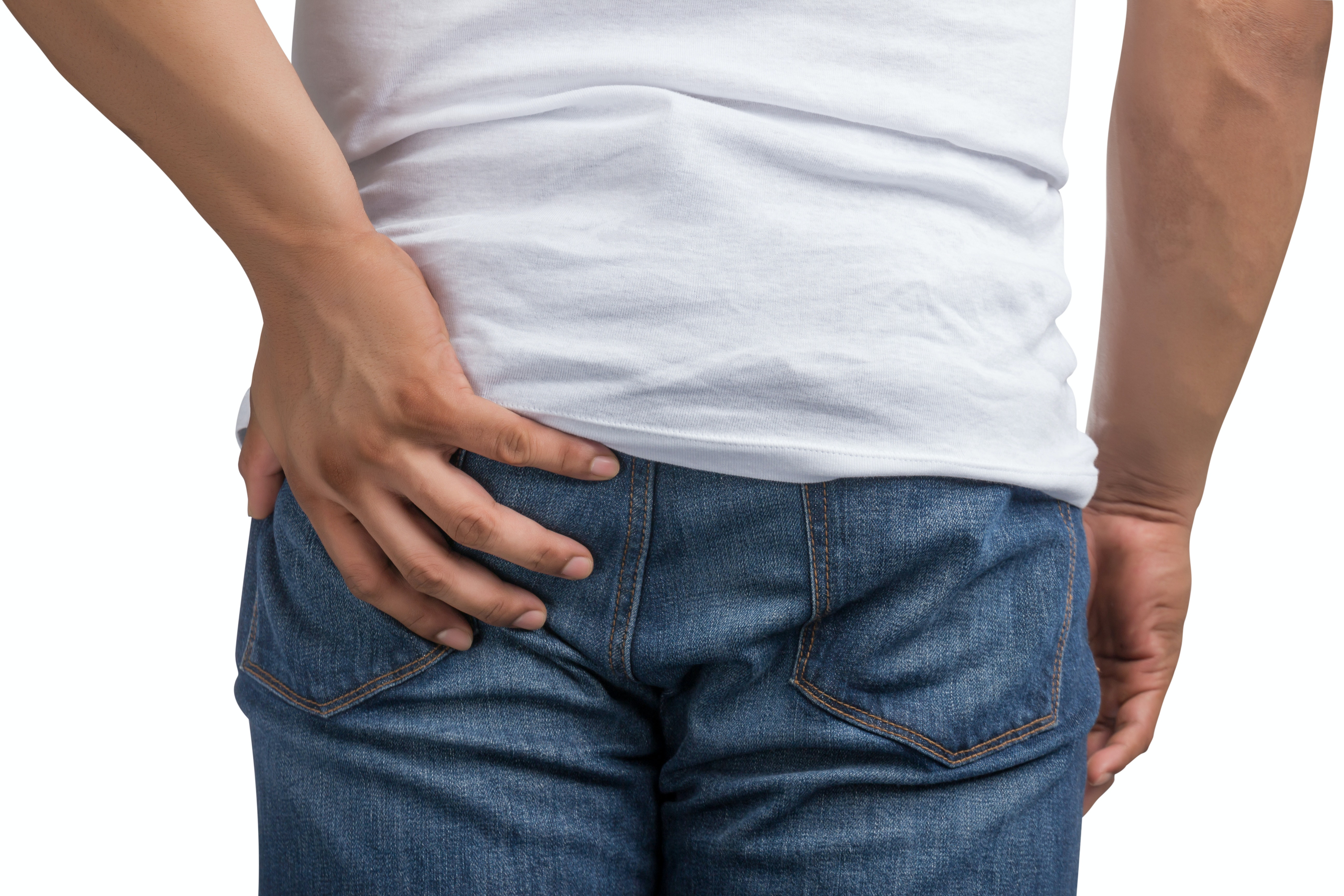 An image depicting a person suffering from rectal bleeding symptoms