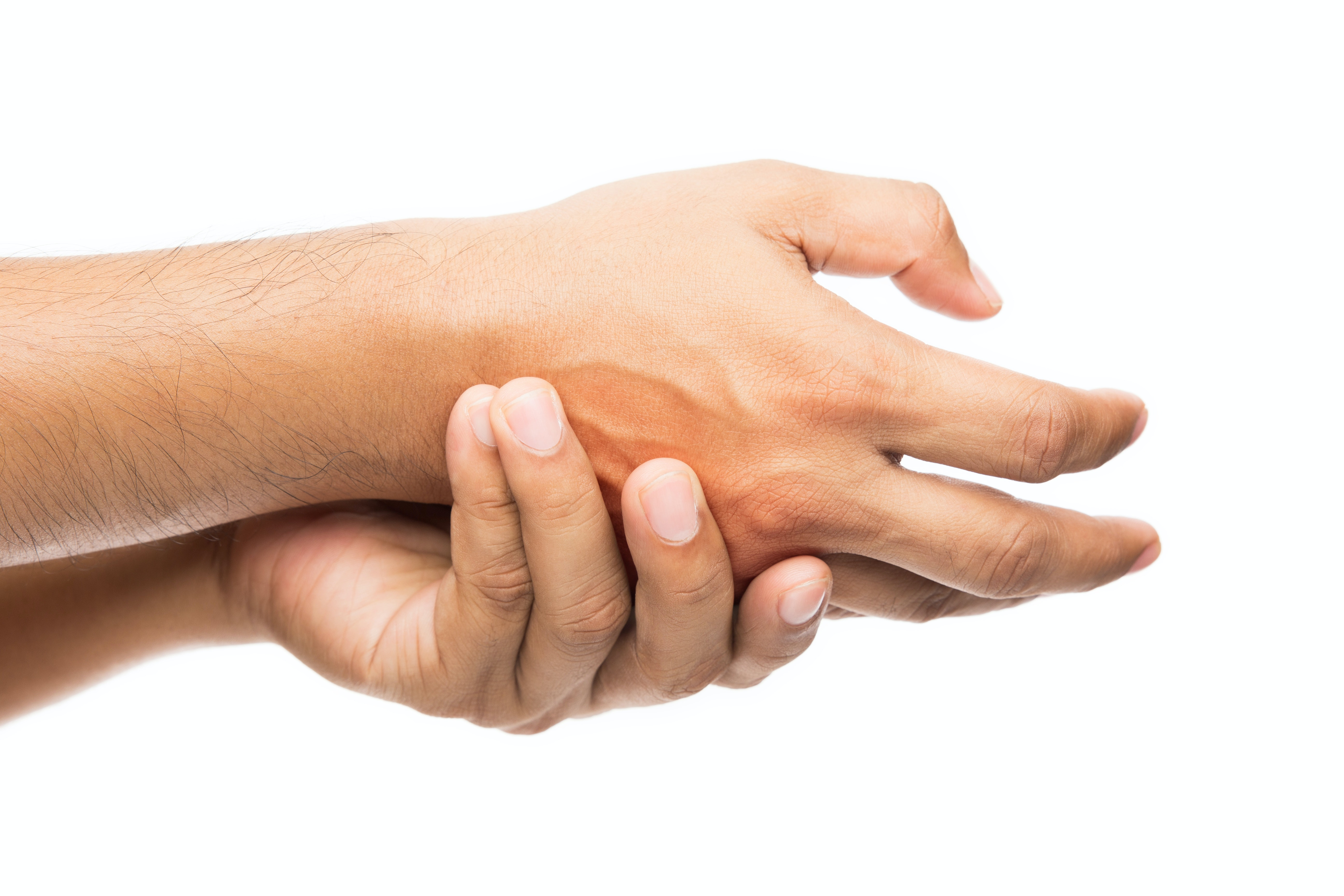 An image depicting a person suffering from thumb numbness symptoms