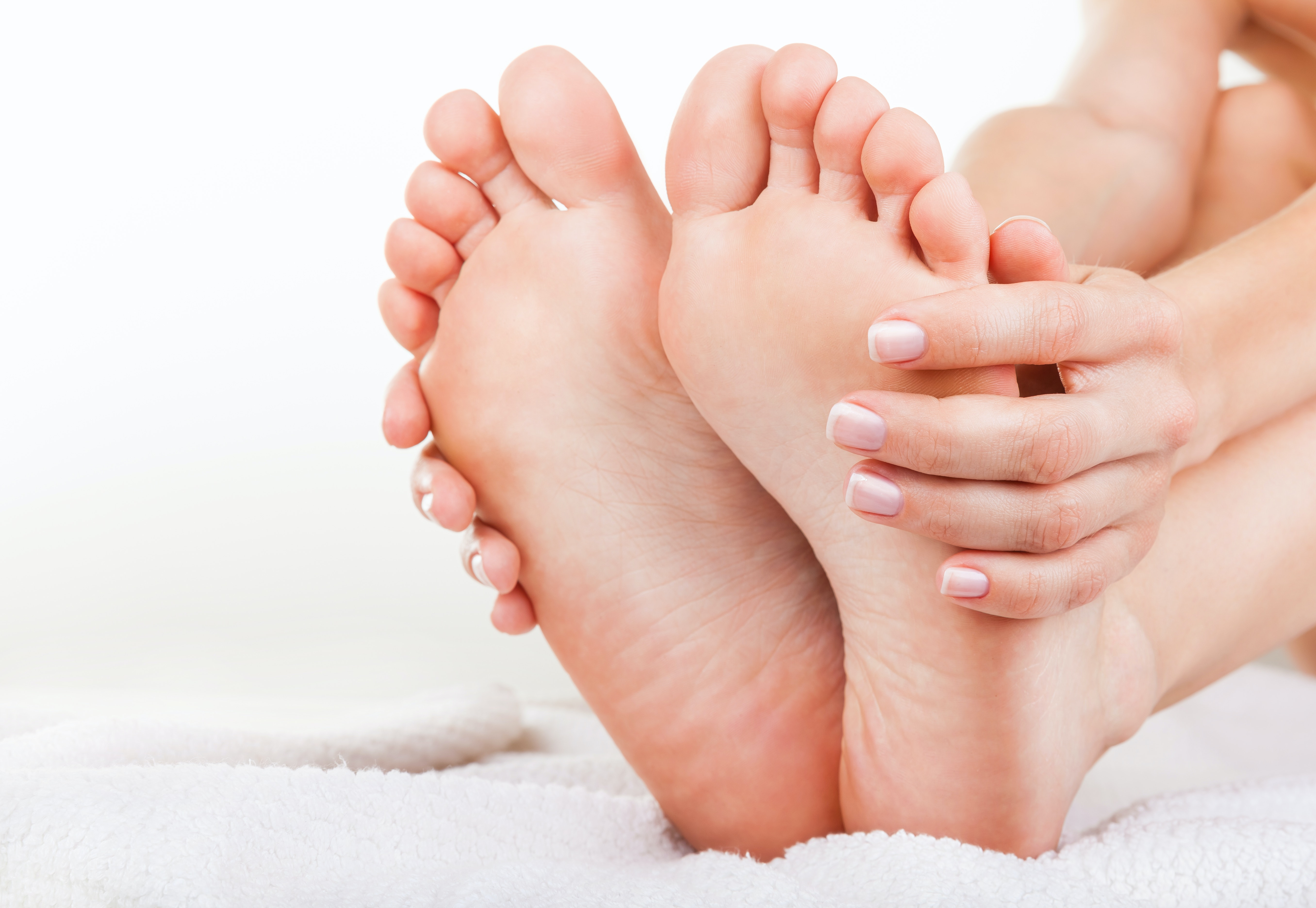 An image depicting a person suffering from toe skin changes symptoms