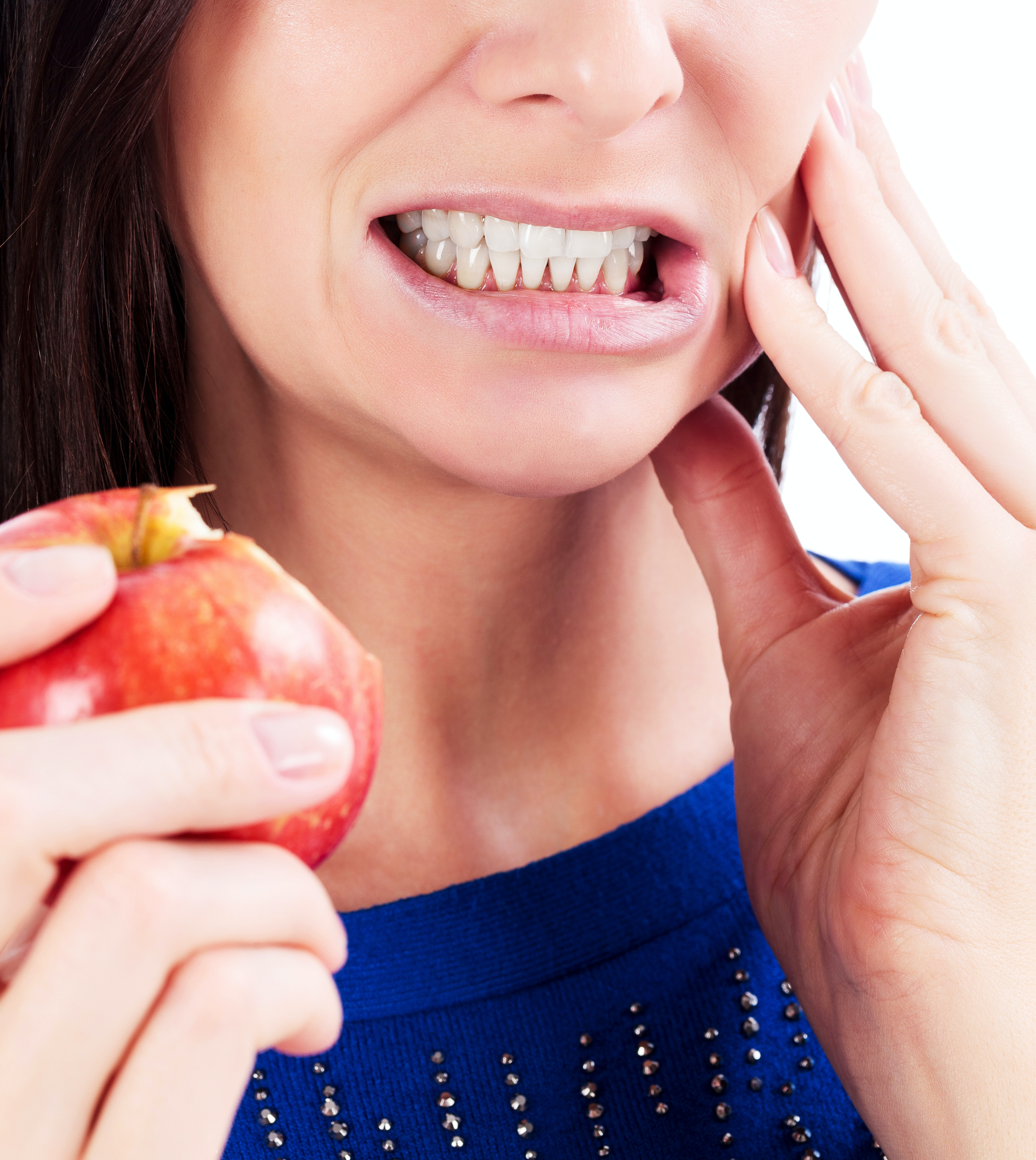 An image depicting a person suffering from tooth pain that makes chewing difficult symptoms